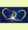 two golden hearts on blue velvet vector image