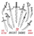 vintage collection with ancient swords vector image vector image