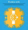 watches icon symbol Floral flat design on a blue vector image vector image