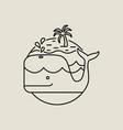 whale icon in flat line art with tropical island vector image
