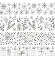 winter hand drawn seamless borders vector image vector image