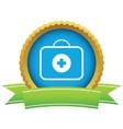 Gold doctor bag logo vector image