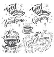 Good morning brush calligraphy set vector image