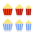 Popcorn Cinema Icon Set Flat Design Style vector image