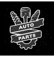 Auto parts hand drawn emblem vector image vector image