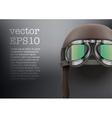 Background of Retro aviator pilot helmet with vector image vector image