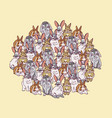 Big group rabbits pets animal round composition