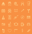 Birthday line icons on orange backgound vector image vector image
