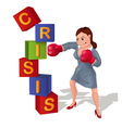 Businesswoman is prevailing over crisis vector image vector image