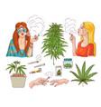 cannabis smoking symbols sketch icon set vector image