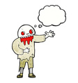 cartoon spooky zombie with thought bubble vector image vector image