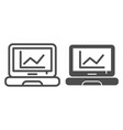 chart on laptop line and glyph icon computer vector image vector image