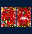 christmas poster with winter holiday sketches vector image vector image