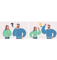 couple of man and woman having a question and idea vector image vector image