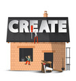 create creativity diy concept with house vector image vector image