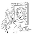 crying actress woman near mirror coloring vector image vector image