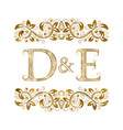 d and e vintage initials logo symbol the letters vector image vector image