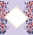 exotic flowers plants with diamond label vector image