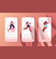 fitness character run landing page template set vector image