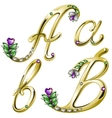 Gold alphabet with diamonds and gems letters A B vector image