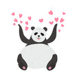 happy cute panda bear panda surrounded by pink vector image