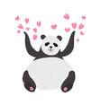 happy cute panda bear panda surrounded pink vector image vector image