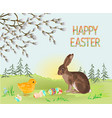 happy easter spring landscape forest hare vector image vector image