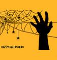 happy halloween spider net theme silhouette hand vector image