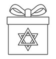 jewish gift box icon outline style vector image