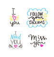 lettering set of quotes about love sweet cute vector image