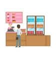 Man Ordering From Cashier In Pink Uniform Smiling vector image vector image