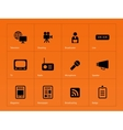 Media icons on orange background vector image vector image
