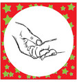 mother hand holding baby tiny hand vector image