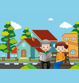 old people sitting on bench in village vector image