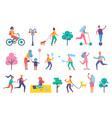 park people isolated icons set vector image vector image