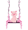pig in a swing vector image vector image