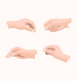 realistic hand set with fingers positions on white vector image vector image
