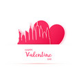 red heart and silhouette of new york city paper vector image