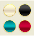 shiny metallic golden circular buttons set vector image vector image