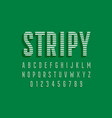 stripy font design alphabet letters and numbers vector image vector image