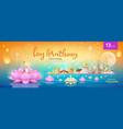 thailand loy krathong festival banners on river vector image