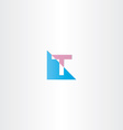 volet blue letter t logo sign vector image vector image