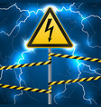 warning sign electrical hazard fenced danger vector image vector image
