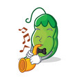with trumpet peas mascot cartoon style vector image vector image