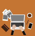 workplace with coffee smartphone and laptop with vector image vector image