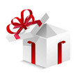 cubic box with silk red ribbon and big bow vector image