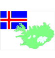 6132 iceland map and flag vector image