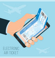 buying a ticket online e-ticket in the smartphone vector image