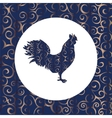 Cock silhouette pattern bird background vector image