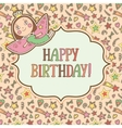 greeting card template with cute little vector image